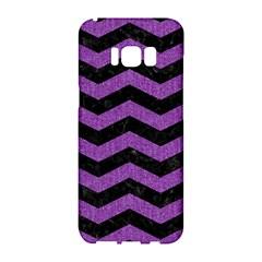 Chevron3 Black Marble & Purple Denim Samsung Galaxy S8 Hardshell Case  by trendistuff