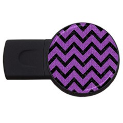 Chevron9 Black Marble & Purple Denim Usb Flash Drive Round (4 Gb)