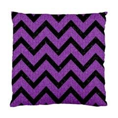 Chevron9 Black Marble & Purple Denim Standard Cushion Case (two Sides) by trendistuff