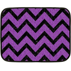Chevron9 Black Marble & Purple Denim Fleece Blanket (mini) by trendistuff