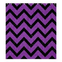 Chevron9 Black Marble & Purple Denim Shower Curtain 66  X 72  (large)  by trendistuff