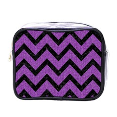 Chevron9 Black Marble & Purple Denim Mini Toiletries Bags by trendistuff