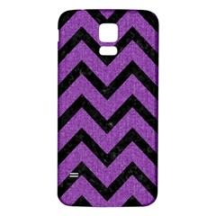 Chevron9 Black Marble & Purple Denim Samsung Galaxy S5 Back Case (white) by trendistuff