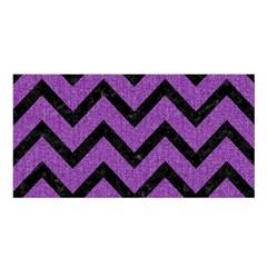 Chevron9 Black Marble & Purple Denim Satin Shawl by trendistuff