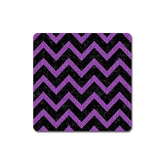 Chevron9 Black Marble & Purple Denim (r) Square Magnet by trendistuff