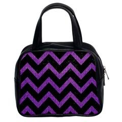 Chevron9 Black Marble & Purple Denim (r) Classic Handbags (2 Sides) by trendistuff