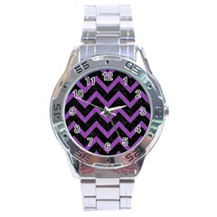 Chevron9 Black Marble & Purple Denim (r) Stainless Steel Analogue Watch by trendistuff