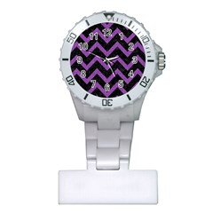 Chevron9 Black Marble & Purple Denim (r) Plastic Nurses Watch by trendistuff