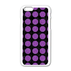 Circles1 Black Marble & Purple Denim (r) Apple Iphone 6/6s White Enamel Case by trendistuff