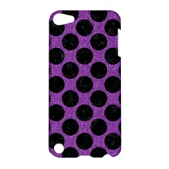 Circles2 Black Marble & Purple Denim Apple Ipod Touch 5 Hardshell Case by trendistuff
