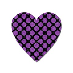 Circles2 Black Marble & Purple Denim (r) Heart Magnet by trendistuff