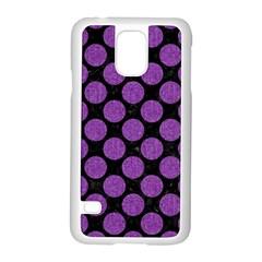 Circles2 Black Marble & Purple Denim (r) Samsung Galaxy S5 Case (white) by trendistuff