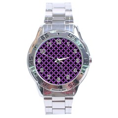 Circles3 Black Marble & Purple Denim (r) Stainless Steel Analogue Watch by trendistuff