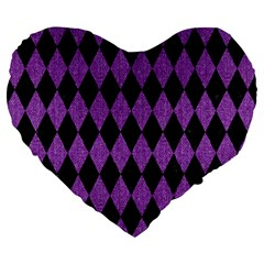 Diamond1 Black Marble & Purple Denim Large 19  Premium Flano Heart Shape Cushions by trendistuff