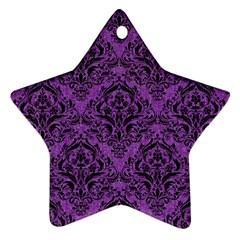 Damask1 Black Marble & Purple Denim Star Ornament (two Sides) by trendistuff