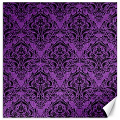 Damask1 Black Marble & Purple Denim Canvas 20  X 20