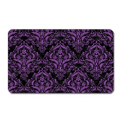 Damask1 Black Marble & Purple Denim (r) Magnet (rectangular) by trendistuff