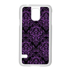 Damask1 Black Marble & Purple Denim (r) Samsung Galaxy S5 Case (white) by trendistuff