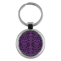 Damask2 Black Marble & Purple Denim (r) Key Chains (round)  by trendistuff