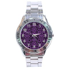 Damask2 Black Marble & Purple Denim (r) Stainless Steel Analogue Watch by trendistuff