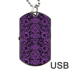 Damask2 Black Marble & Purple Denim (r) Dog Tag Usb Flash (one Side) by trendistuff
