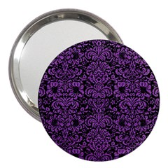 Damask2 Black Marble & Purple Denim (r) 3  Handbag Mirrors by trendistuff