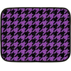 Houndstooth1 Black Marble & Purple Denim Fleece Blanket (mini) by trendistuff