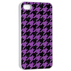 Houndstooth1 Black Marble & Purple Denim Apple Iphone 4/4s Seamless Case (white) by trendistuff