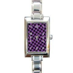 Houndstooth2 Black Marble & Purple Denim Rectangle Italian Charm Watch by trendistuff