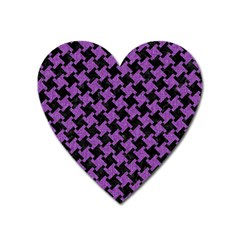 Houndstooth2 Black Marble & Purple Denim Heart Magnet by trendistuff