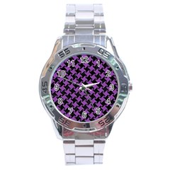 Houndstooth2 Black Marble & Purple Denim Stainless Steel Analogue Watch by trendistuff