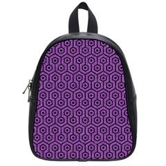 Hexagon1 Black Marble & Purple Denim School Bag (small) by trendistuff