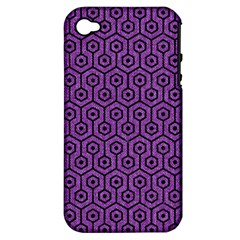 Hexagon1 Black Marble & Purple Denim Apple Iphone 4/4s Hardshell Case (pc+silicone) by trendistuff