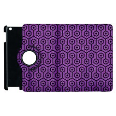 Hexagon1 Black Marble & Purple Denim Apple Ipad 3/4 Flip 360 Case by trendistuff