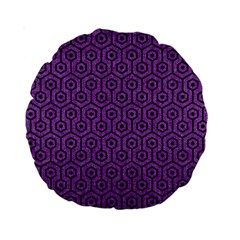 Hexagon1 Black Marble & Purple Denim Standard 15  Premium Round Cushions by trendistuff