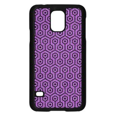 Hexagon1 Black Marble & Purple Denim Samsung Galaxy S5 Case (black) by trendistuff