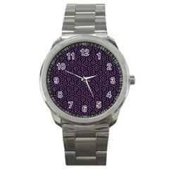 Hexagon1 Black Marble & Purple Denim (r) Sport Metal Watch by trendistuff
