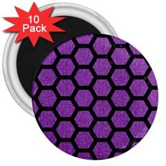 Hexagon2 Black Marble & Purple Denim 3  Magnets (10 Pack)  by trendistuff