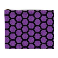 Hexagon2 Black Marble & Purple Denim Cosmetic Bag (xl) by trendistuff