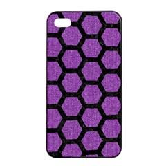 Hexagon2 Black Marble & Purple Denim Apple Iphone 4/4s Seamless Case (black) by trendistuff