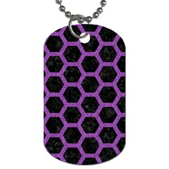 Hexagon2 Black Marble & Purple Denim (r) Dog Tag (two Sides) by trendistuff