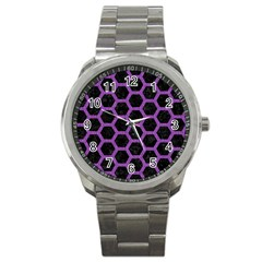 Hexagon2 Black Marble & Purple Denim (r) Sport Metal Watch by trendistuff