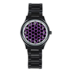 Hexagon2 Black Marble & Purple Denim (r) Stainless Steel Round Watch by trendistuff