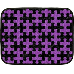 Puzzle1 Black Marble & Purple Denim Fleece Blanket (mini) by trendistuff