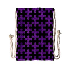 Puzzle1 Black Marble & Purple Denim Drawstring Bag (small) by trendistuff