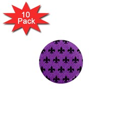Royal1 Black Marble & Purple Denim (r) 1  Mini Magnet (10 Pack)  by trendistuff