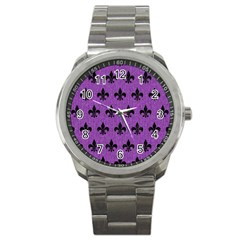 Royal1 Black Marble & Purple Denim (r) Sport Metal Watch by trendistuff