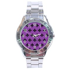 Royal1 Black Marble & Purple Denim (r) Stainless Steel Analogue Watch by trendistuff