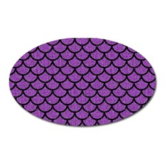 Scales1 Black Marble & Purple Denim Oval Magnet by trendistuff