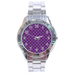 Scales1 Black Marble & Purple Denim Stainless Steel Analogue Watch by trendistuff